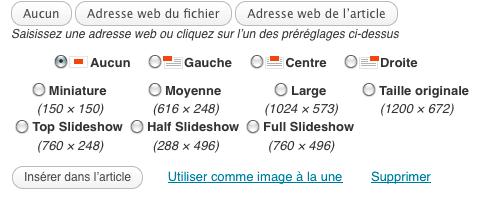 Fenetre media de WordPress, plusieurs tailles d'images
