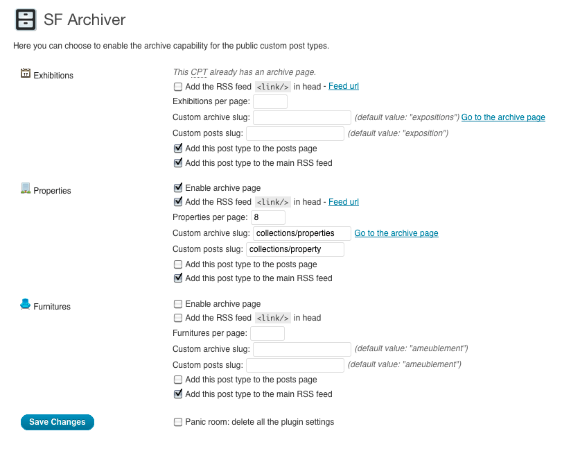 SF Archiver - Settings